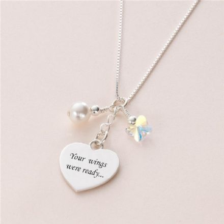 Engraved Heart Necklace, Your Wings Were Ready